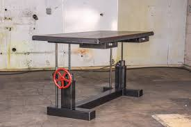 Sit Or Stand Desk by Handmade Sit Stand Crank Desk By Vintage Industrial Llc