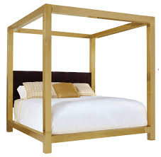 dhp soho modern canopy bed white metal with black linen queen