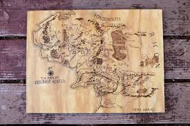 woodburned map of middle earth wooden signs map lotr