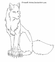 sitting wolf lineart by firewolf anime deviantart com on