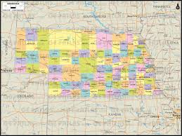 Map Of Counties In Nebraska Geoatlas United States Canada Nebraska Map City Illustrator