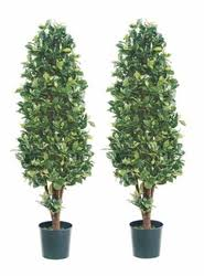 topiary trees set of 2 5 silk ficus cone shaped artificial topiary trees