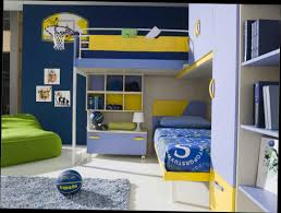 Modern Bunk Beds For Boys Varnished Wooden Size Bunk Mixed Blue Bedding Beds