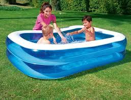 Garten Pool Aufblasbar Bestway Family Pool Blue Rectangular 201x150x51 Cm Amazon De Garten