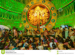 Decoration Of Durga Puja Pandal People Enjoying Inside Durga Puja Pandal Durga Puja Festival