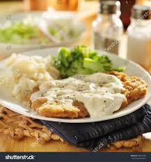 country fried steak southern style peppered stock photo 206297206