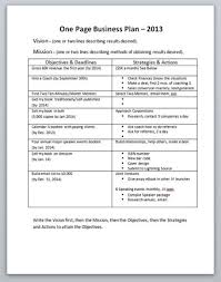 one page business plan template small business plan template one