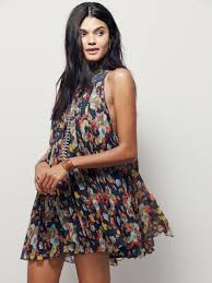 free people floral pleated mini dress lyst