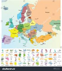 map all european map all europe countries name stock vector 79064353