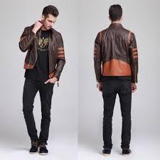 x men 1 origins wolverine brown biker leather jacket costume