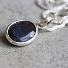 silver necklace with sapphire images Buy dark blue sapphire silver necklace handmade silver jewelry jpg