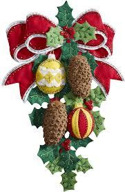 bucilla christmas bucilla pinecones wall hanging christmas felt applique kit