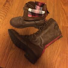 sweater lined foldover combat boots 72 refresh boots fold combat boots plaid lined zip