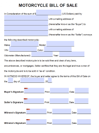 free motorcycle bill of sale form pdf word doc