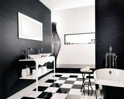 white vanity under neon lighting black and white bathroom decor