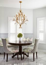 Gold Leaf Chandelier With Gray Beadboard Dining Bench - Beadboard dining room