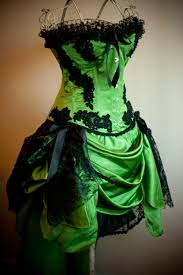 green gypsy steampunk green black burlesque corset costume dress