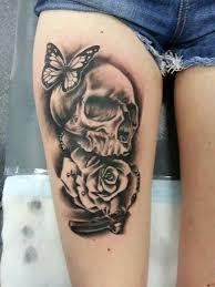 skull butterfly rose tattoos pinterest