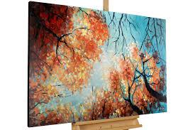 Wohnzimmerm El Rot Gemälde Laub Bäume Im Herbst Online Kaufen Kunstloft