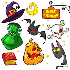 set of halloween pumpkin and attributes icons witch cat pumpkin