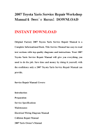 2007 toyota yaris service repair workshop manual u0026 owen s manual down u2026