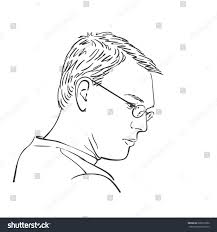sketch thinking man side view hand stock vector 680519692