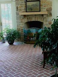 perfect vintage brick fireplace with wooden wall mount mantel also