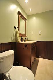 wood wainscoting in bathroom amys office