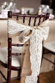 lace chair sashes rustic wedidng ideas lace and burlap chair sash bow tulle