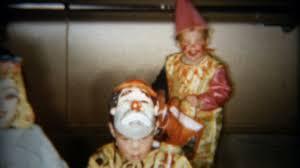 1959 kids wearing creepy clown halloween costumes go trick or