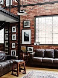 astounding industrial living room grey rug rustic decor brick wall