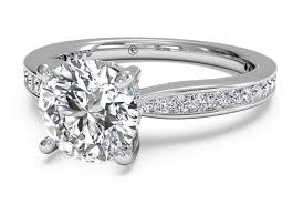 set ring cut tapered channel set diamond band engagement ring in