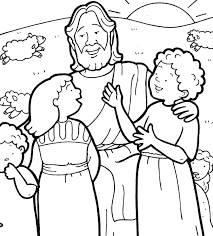 jesus and children coloring page sunday for 2s and 3s