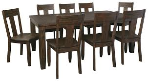 9 piece rectangular dining table set with wood seat chairs by