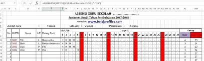format rekap absensi pegawai membuat absensi barcode sederhana excel otomatis