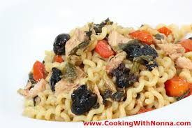 italian olives fusilli with tuna and black olives
