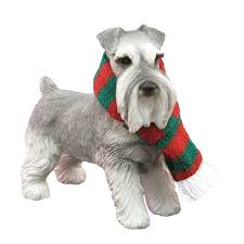 schnauzer standing christmas ornament gray with same day