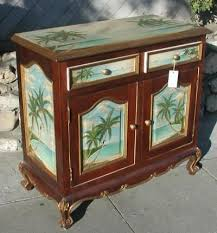 tropical painted buffet with monkeys and palm trees u2013 r furniture