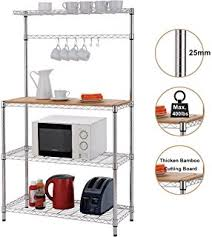 Bakers Racks For Kitchens Amazon Com Yaheetech 3 Shelf Metal Bakers Racks For Kitchens With