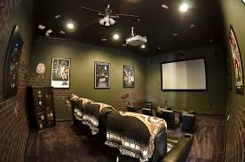 Home Theater Ceiling Lighting Interior Lovely Home Theater Room With Soft Green Brick Wallpaper