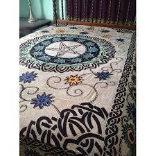 Pentacle Rug Pentacle Pentagram Floral Flowers Celtic Wicca Altar Cloth