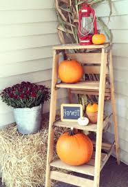 rustic ladder pumpkin front porch display christmas decorating