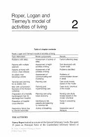 roper logan and tierney u0027s model of activities of living springer