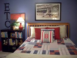 room boys with dark brown wooden twin bed frames combined stripes