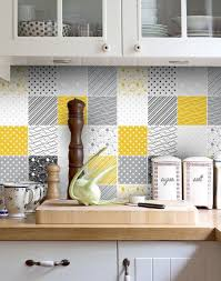 tile decals for kitchen backsplash backsplash decal vinyl backsplash yellow gray tiles decals