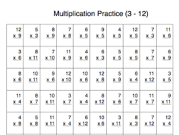 multiplication practice problems 100 problems with number 3 12