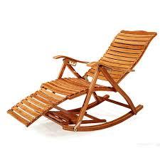 chaise longue ext rieur moderne foldadble bambou chaise berçante inclinable avec pouf
