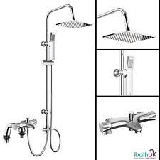 Bathroom Shower Mixer Bath Shower Mixer Thermostatic Valve 2 Way Use Dual Square