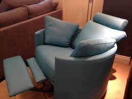 Electric Recliner Chairs Deep Turquoise Blue Leather On Our Summer 2014 Showroom Display
