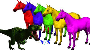 colors 3d horse colors songs collection vs angry dinosaurs for